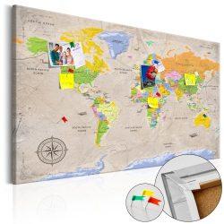 Kép parafán - Maps: Vintage Style [Cork Map]  Parafa világtérkép - vászonkép 120x80