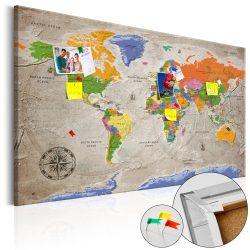 Kép parafán - World Map: Retro Style [Cork Map]  Parafa világtérkép - vászonkép 120x80