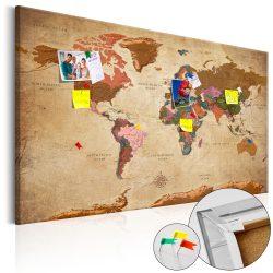 Kép parafán - World Map: Brown Elegance [Cork Map]  Parafa világtérkép - vászonkép 120x80