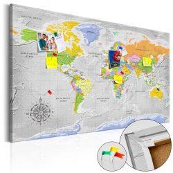 Kép parafán - World Map: Wind Rose [Cork Map]  Parafa világtérkép - vászonkép 120x80