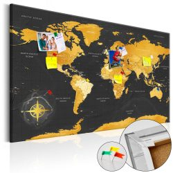 Kép parafán - Golden World [Cork Map]  Parafa világtérkép - vászonkép 120x80