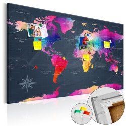 Kép parafán - Colourful Crystals [Cork Map]  Parafa világtérkép - vászonkép 120x80