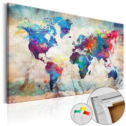 Kép parafán - World Map: Colourful Madness [Cork Map]  Parafa világtérkép - vászonkép 90x60