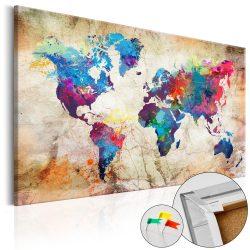 Kép parafán - World Map: Urban Style  [Cork Map]  Parafa világtérkép - vászonkép 120x80