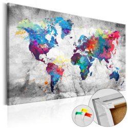 Kép parafán - World Map: Grey Style [Cork Map]  Parafa világtérkép - vászonkép 90x60