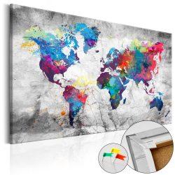 Kép parafán - World Map: Grey Style [Cork Map]  Parafa világtérkép - vászonkép 120x80