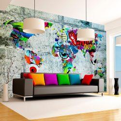 Fotótapéta térkép - Map - Graffiti Világtérkép 100x70