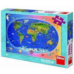 A Világ puzzle állatos 300 db Dino XXL képkirakó, Állatos Világtérkép - kék