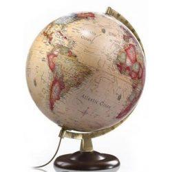Világító földgömb 30 cm fatalpas antik színű , Nova Rico világítós földgömb