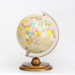 Antik színű földgömb 25 cm hajós, felfedezős