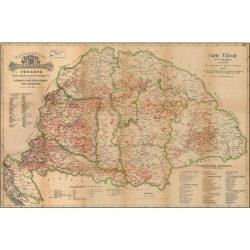 Magyarország borászati régiói fóliás falitérkép fémléccel Stiefel  100x70 cm