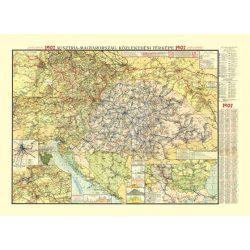 Ausztria-Magyarország közlekedési térképe 1907 antik HM fakszimile falitérkép 107x81  1 : 1500 000