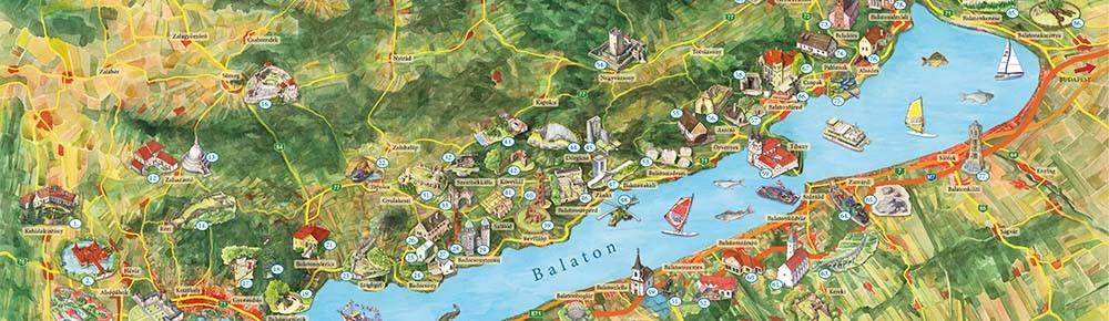 balaton környéke térkép Balaton és környéke térkép, Balaton látványtérkép Civertan