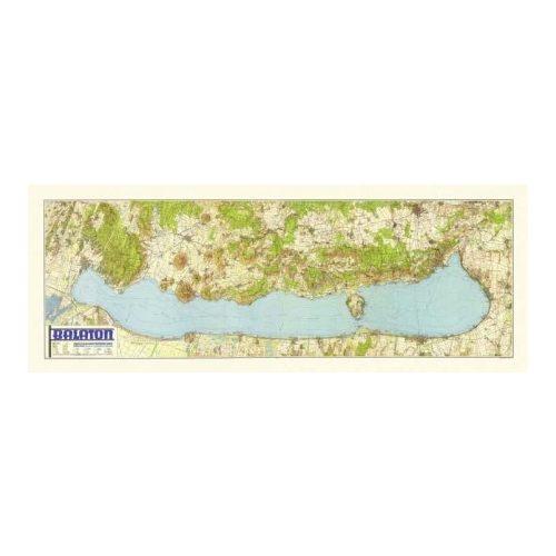 Balaton falitérkép fóliázott antik HM  1939  fakszimile falitérkép 180 x 67