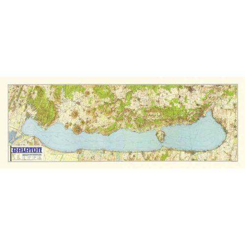Balaton falitérkép antik HM  1939  fakszimile falitérkép 180 x 67