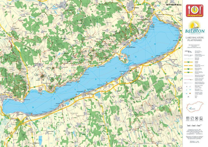 balaton térkép Balaton panoráma tányéralátét könyöklő + hátoldalon Balaton térkép