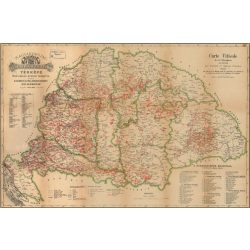 Magyarország borászati térképe keretezett falitérkép 1884év  100x70 cm