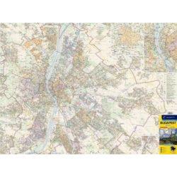 Budapest falitérkép fóliázott hajtogatott térképből Cartographia 1:30 000 110 x 82