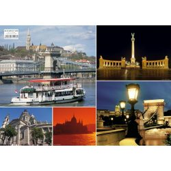Budapest képekben tányéralátét könyöklő + hátoldalon Budapest belváros térképe
