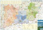 Dél-Alföld régió járásainak térképe fémléces falitérkép Stiefel