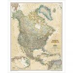 Észak-Amerika falitérkép National Geographic antik színezésű 62x100