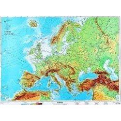 Európa domborzata falitérkép DUO (hátoldal: vaktérkép) 160x120 cm faléces, fóliás