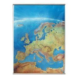 Európa falitérkép satelit faléces, fóliás 100 x 140 cm Európa panorámatérkép, kézzel festett