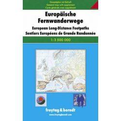 Európa hosszútávú gyalogútjai térkép Freytag & Berndt 1:3 500 000