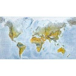 Világtérkép falitérkép tengerfenék-domborzati világ fémléces, 120x84 cm Freytag