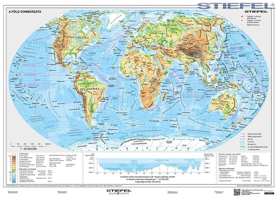 földgömb térkép A Föld domborzati és politikai térképe, 2 oldalas Föld domborzata