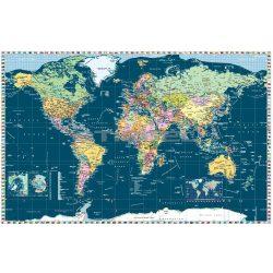 Föld országai térkép trendi színezéssel, fóliás-fémléces. A Világ politikai térképe, világ országai falitérkép 122x80 cm