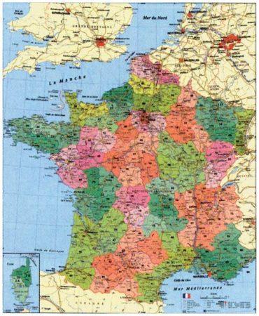 Franciaország  falitérkép irányítószámos, fóliázott, fémléces  Stiefel  100x140 cm