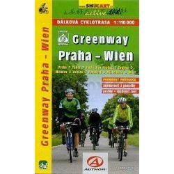 Greenway Prága-Bécs kerékpáros térkép Shocart 1:110 000