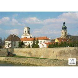 Győr tányéralátét könyöklő + hátoldalon Győr várostérképe