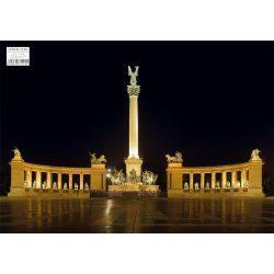 Hősök tere tányéralátét könyöklő, hátoldalon Budapest belváros térképe