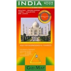 India térkép Gizi Map domborzati  1:3 000 000