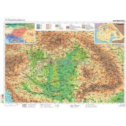 Kárpát-medence falitérkép, Kárpát medence domborzata térkép fémléces  120x80  melléktérképekkel