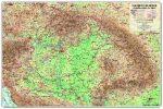 Kárpát-medence domborzata és vizei falitérkép, könyöklő Nyír-Karta  70x50 cm