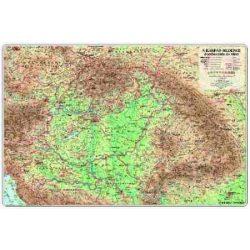 A Kárpát-medence domborzata falitérkép, Kárpát-medence térkép faléces, fóliás  160 x 120 cm