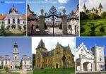 Magyarország kastélyai tányéralátét könyöklő + hátoldalon Magyarország történelmi emlékhelyei térkép