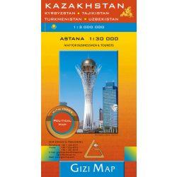 Kazakhstan térkép Gizi Map, Kazakhstan politikal map Kazasztán térkép 1:1 300 000  2020 Astana térkép