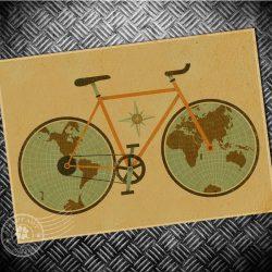 Kerékpár Világtérkép művészeti falitérkép lefóliázva 42x30 cm