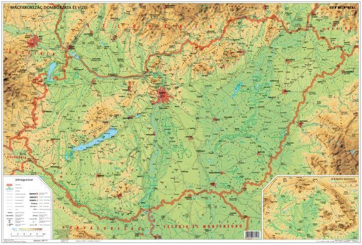 magyar domborzati térkép Magyarország domborzata és vizei iskolai lap Stiefel A/4   Térkép  magyar domborzati térkép