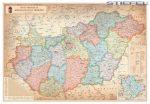 Magyarország falitérkép, Magyarország közigazgatása különleges színezéssel falitérkép fémléccel 100x70 cm 2016