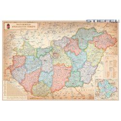 Magyarország falitérkép S., Magyarország közigazgatása különleges színezéssel falitérkép fémléccel 100x70 cm 2016