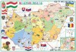 Magyarország térkép gyerekeknek közigazgatás / domborzat asztali alátét A3 kétoldalas