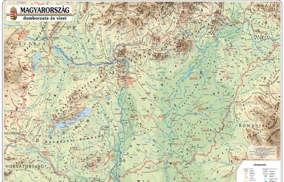 magyarország domborzata térkép Magyarország domborzata falitérkép Nyír Karta 1:450 000 125x85  magyarország domborzata térkép