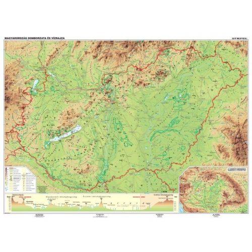 Magyarország domborzata és vízrajza iskolai falitérkép DUO (hátoldal: vaktérkép) 160x120 cm faléces, fóliás