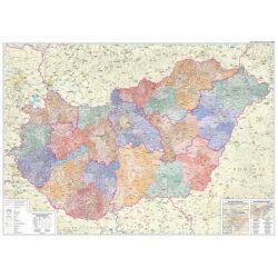 Magyarország keretezett mágnesezhető falitérkép 125x86 cm  2017