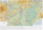 Magyarország falitérkép, Magyarország közlekedése fémléces falitérkép Stiefel 140x100 cm